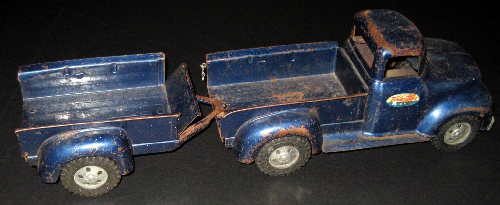 Tonka Trucks Blue Pickup With Trailer