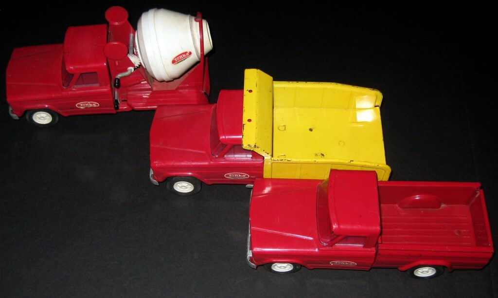 Tonka-Trucks-Dump-Cement-Mixer-Pickup-Red-Yellow