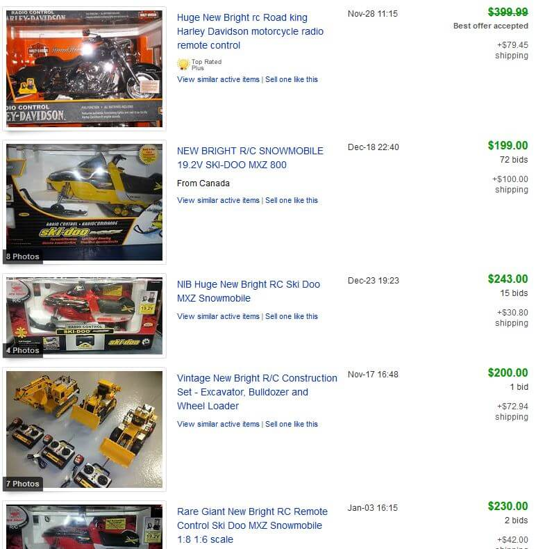 New Bright RC Completed Listings