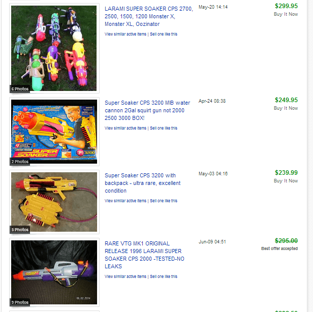 Super Soaker eBay Completed Listings