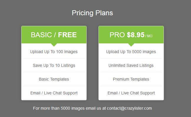CrazyLister Pricing Plan