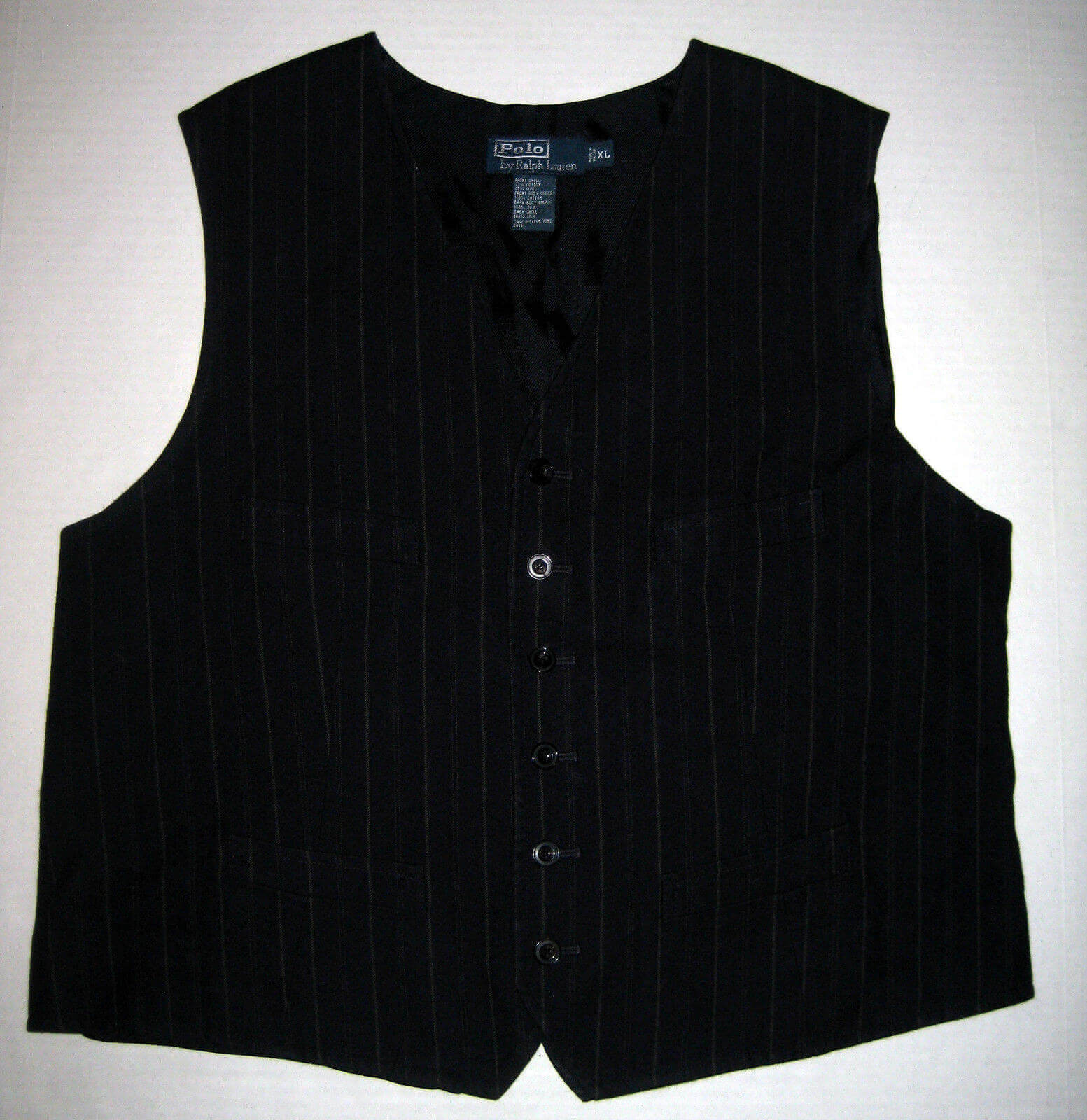 Polo Ralph Lauren Black Button Front Vest eBay
