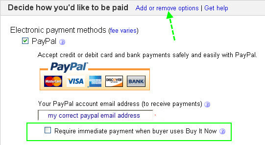 Immediate Payment Required Setting eBay